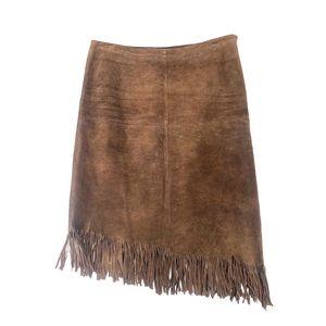 Vintage Y2K Fringe Suede Asymmetrical Skirt Brown